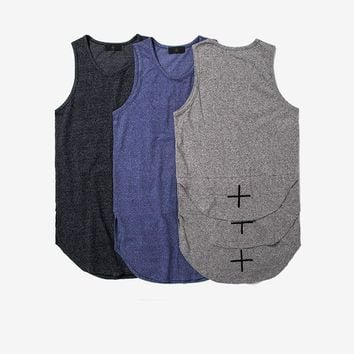 Curved Hem Extended Tank Tops