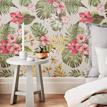 Plumeria Wallpaper - Hibiscus Wallpaper - Hawaiian Wallpaper - Plumeria Wall Sticker - Plumeria Wall Decal - Hibiscus Adhesive Wallpaper