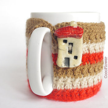 Cozy Mug Coffee, Mug Warmer, Brown earth color, House Artisanal Ceramic button, sweater Tea Sleeve Cover Crochet Wool -  French home decor
