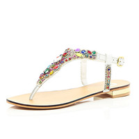 River Island Womens White gemstone embellished T-bar sandals