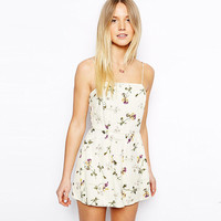 Chiffon Jumpsuit Sexy Corset Backless Floral Romper [9022453636]