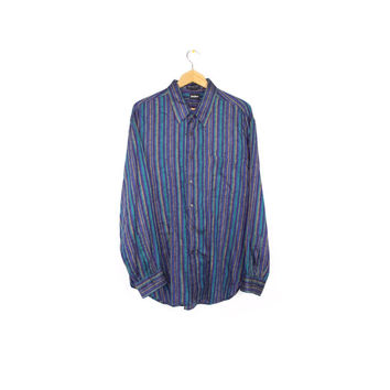 vintage neiman marcus iridescent metallic teal + purple - woven button down shirt - 80s / 90s - colorful - long sleeve oxford  - mens L - XL