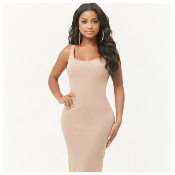 Ribbed Bodycon Dress Taupe