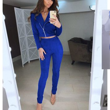 TAOVK women Suede Leather 2 Piece Set Sexy V-neck long sleeve Top And pants Slim two pieces set tracksuit