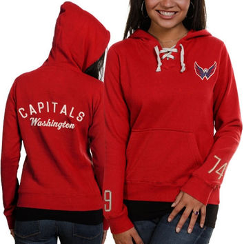 Washington Capitals Old Time Hockey Women's Queensboro Lace Hooded Sweatshirt - Red