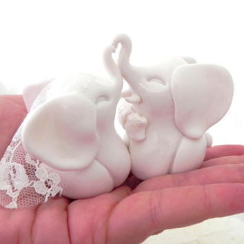 Wedding Cake Topper, White Elephants, Bride and Groom Keepsake, Fully Custom