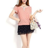 Kawaii Lolita Polka Dots Chiffon Loose Short Sleeve Shirt - Orange Pink, Mint Green or Navy - S M L XL from Tobi's Finds
