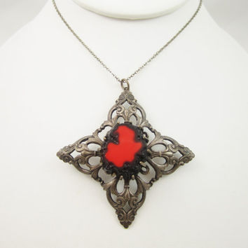 Hobe Necklace, Red Black Lava Glass, Vintage Jewelry, Boho Chic Indie, Fashion Jewellery