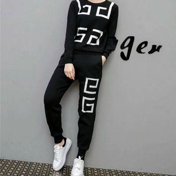 DCCKXT7 Givenchy' Women Casual Logo Pattern Knit Long Sleeve Trousers Set Two-Piece Sportswear