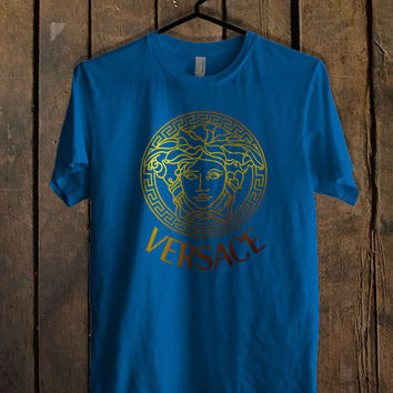 versace logo gold Blue Mens T Shirt **