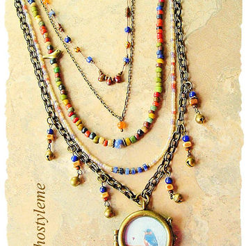 Bohemian Necklace, Nature Inspired Bird Jewelry, Colorful Handmade Beaded Jewelry, bohostyleme, Kaye Kraus