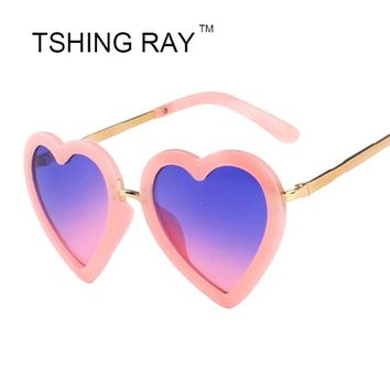 Fashionable Heart Shape Sunglasses 2016 New Cute Girls Pink Mirror Lovely Sun Glasses 100% UV400 Kid Baby Eyewear High Quality