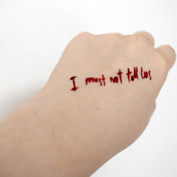 Potter temporary tattoo - Geek, Fandom, I must not tell lies, Blood, Stocking Stuffer, Colourful, Tattoo, Woodland, Accessories