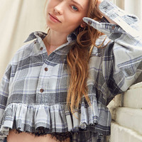 Urban Renewal Recycled Button-Down Peplum Flannel Shirt | Urban Outfitters