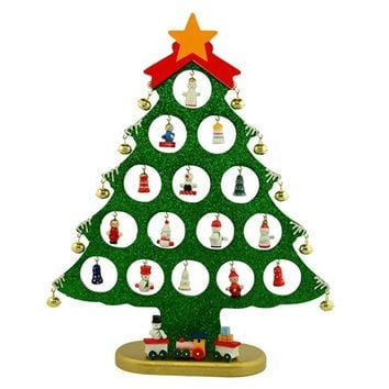 "12"" 25 Miniature Ornaments Wooden Tabletop Christmas Tree"