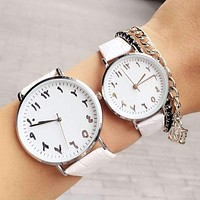 Arabic Numbers Genuine Leather Women Quartz Watch