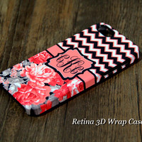 Chevron Floral Monogram iPhone 6s Plus 6 5S 5C 5 4 Protective Case  922
