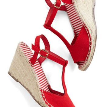 ModCloth Nautical Anchors Sashay Wedge in Red