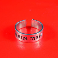 Hakuna Matata - Hand Stamped Aluminum Ring, Adjustable Skinny Ring, Lion King Inspired