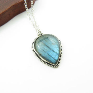 Northern Lights Labradorite Teardrop Pendant Necklace Sterling Silver Gemstone Necklace BooBeads Handmade Metalwork Jewelry