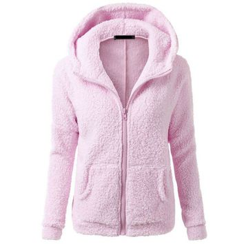 Autumn Winter New Arrival Women Fleece Jackets Fashion Casual Hooded Sweaters Warm Soft Coats Sweatshirts 7644
