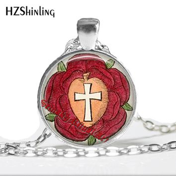 HZ--A364 Popular Rosicrucian rose pendant cross necklace glass dome necklace occult jewelry gift for women and him jewelry HZ1