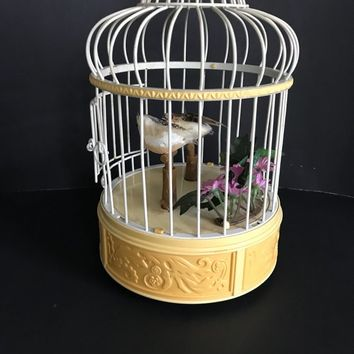 Vintage Musical Bird Cage, 50s Kitsch, Working, Moving Birds, Mid Century Home Decor, Singing Birds, Mechanical Singing Birds