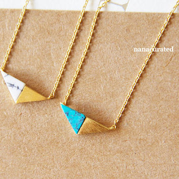 Turquoise Marble Gold Triangle Necklace, Charm Necklace,  Necklaces, Necklaces, Hipster Necklace, Charms, Holiday Gifts, Gift Ideas, Minimal