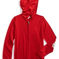 Boy's Burberry Wool Full Zip Hoodie with Check Print Elbow Patches,