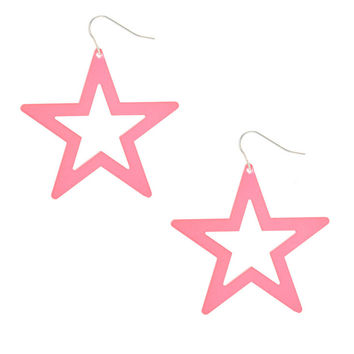 Neon Pink Star Drop Earrings