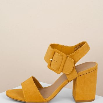 Twin Straps Buckled Ankle Chunky Low Heel Sandals