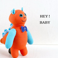 Stuffed Dinosaur, Stuffed Animal, Handmade  sock doll baby stuffed toys, Orange, from Enchanted Forest