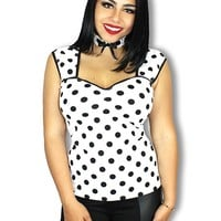 "WOMEN'S ""MARYJANE"" POLKA DOT PINUP TOP BY DEMI LOON (WHITE/BLACK)"