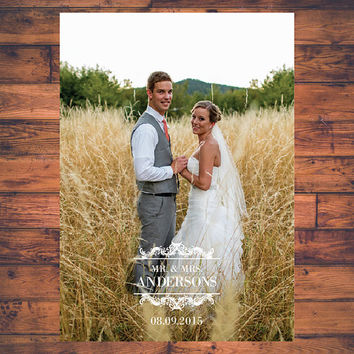 Photo Wedding Thank You Card Post Card Just Married Mr and Mrs Newlyweds Personalised Photo and Name Label Digital File Digital Printable