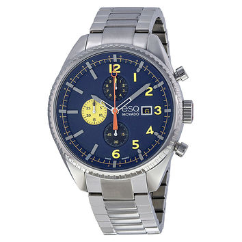 ESQ Movado? Catalyst Chronograph Blue Dial Stainless Steel Bracelet Men's Watch