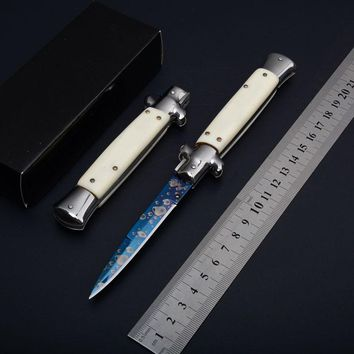 Italy Pocket knifes Acrylic handle Italian Godfather Stiletto 440C steel Titaniums blade survival outdoor camping knives