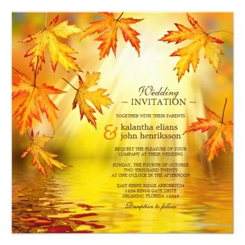 Colorful Fall Wedding Invitation Autumn Leaves