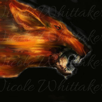 Hellhound Supernatural Wolf fantasy Digital Painting signed art print 6x4 mythical wildlife nature dog