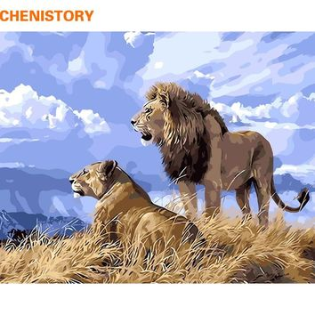 CHENISTORY Lions Animals DIY Painting By Numbers Kits Acrylic Modern Wall Art Picture Handpainted Oil Painting For Home Artwork