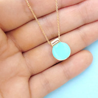 Aqua, Blue, Crush, Geo, Necklace, Unique, Simple, Gold, Silver, Necklace, Mint, Jewlery, Gift, Circle, Circle, round, Small, Pendant Jewelry