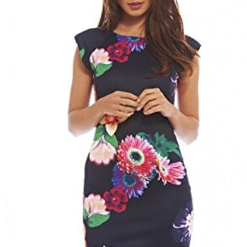 Black Floral Print Capped Sleeve Scoop Back Bodycon Dress