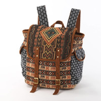 Wide Open Backpack, Diaper  Bag/ Navajo Tapestry Textile and Tribal Elephant Print/ Daypack, Daycare Bag, School Backpack/