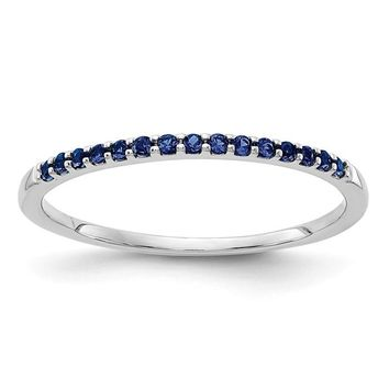14k White Gold Blue Sapphire Anniversary Band Ring