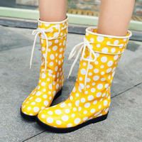 Women's Speckle wellies Polka Dot print Rain Boots flat Wedge Mid-calf Boots Korean Sweet style platform Middle canister boots