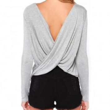 Backless Cross Pleated T-shirt
