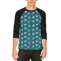 Christmas Narwhals in Santa Hats Pattern Mens Raglan T Shirt