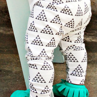 organic cotton black + white multi-triangle cuffed leggings