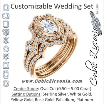CZ Wedding Set, featuring The Arya engagement ring (Customizable Oval Cut with Ultrawide Pavé Split-Band and Nature-Inspired Double Halo)