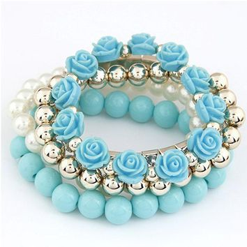 Bracelet Candy Color imitation pearl Rose Flower Multi layer Beads Stretch Charm Bracelet & Bangle For Women