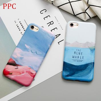 The bule sea whale phone Cases For iphone 6 6s 6plus 7 7Plus Scrub soft silicon case back cover for iphone 8 8plus